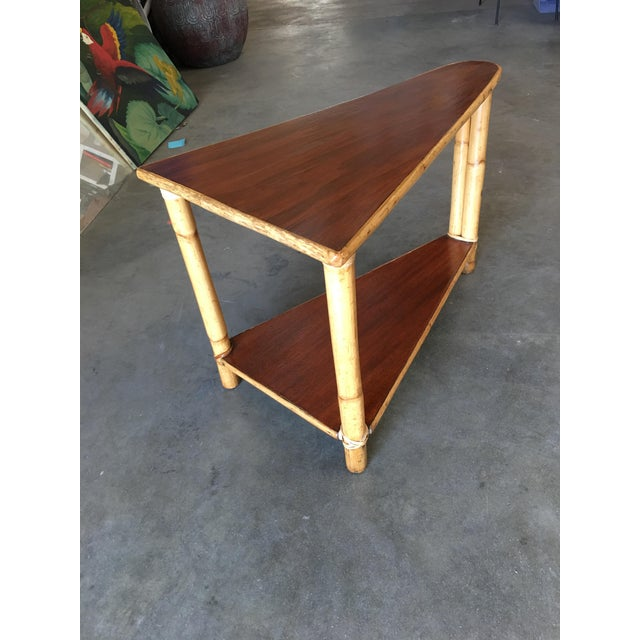 1950s Restored Two-Strand Rattan Wedge Drinks Table With Two-Tier Mahogany Tops For Sale - Image 5 of 8