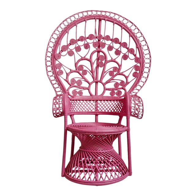 Pink Peacock Wicker Chair For Sale