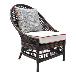 Organic Modern Rattan Fanback Peacock & Curved Back Chair For Sale