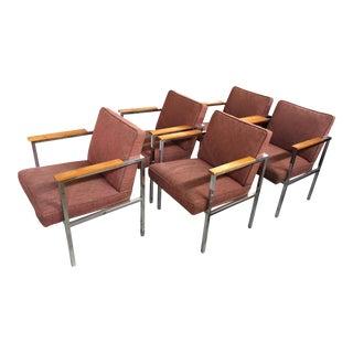 1960's Mid-Century Modern Chrome & Walnut Armchairs - Set of 6 For Sale