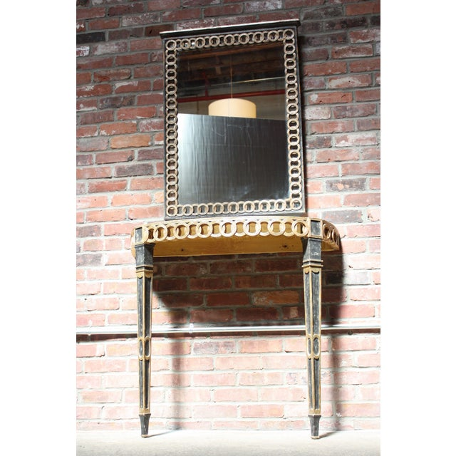 Italian Palladio Parcel Paint and Gilt Demilune Console and Mirror - Image 2 of 10