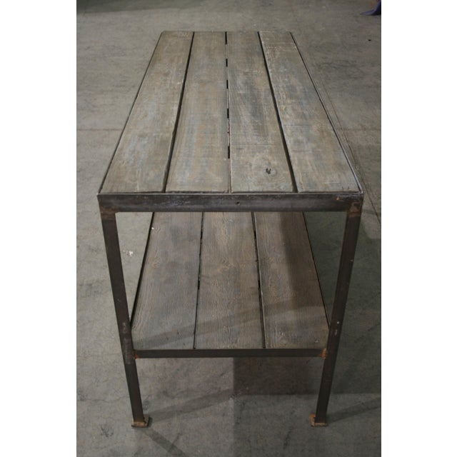 Mid 20th Century Mid Century Wood & Iron Work Table With Lower Shelf For Sale - Image 5 of 6
