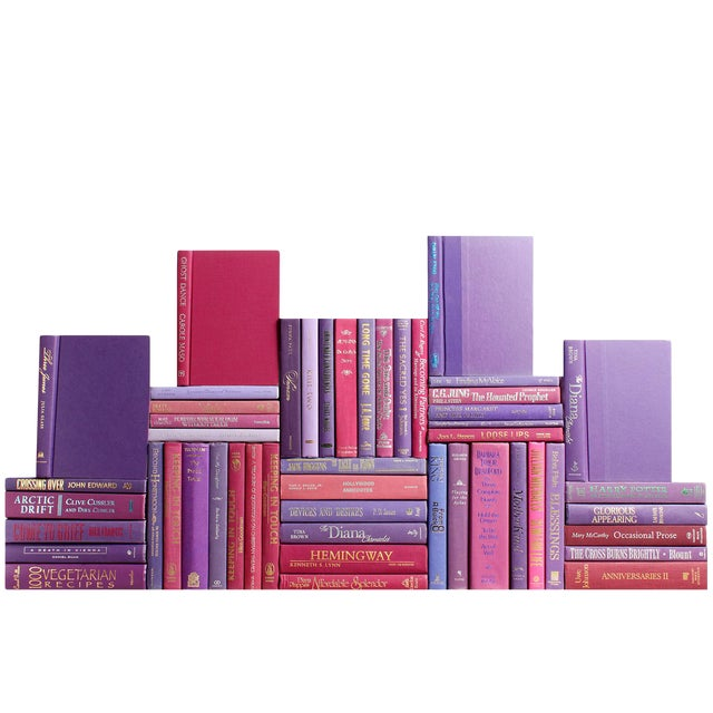 Modern Berry Book Wall : Set of Fifty Decorative Books in Shades of Purple For Sale