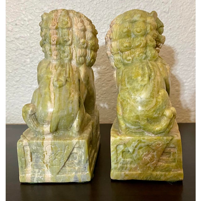 1940s Vintage Hand Carved Stone Foo Dogs - a Pair For Sale - Image 5 of 7