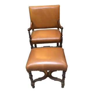 Antique 1910s Victorian Style Barley Twist Wood Framed Armchair and Ottoman Newly Upholstered For Sale