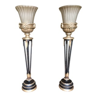 Kenwood House Collection 18th Century Style Brass & Hand Blown Glass Torchieres - A Pair For Sale