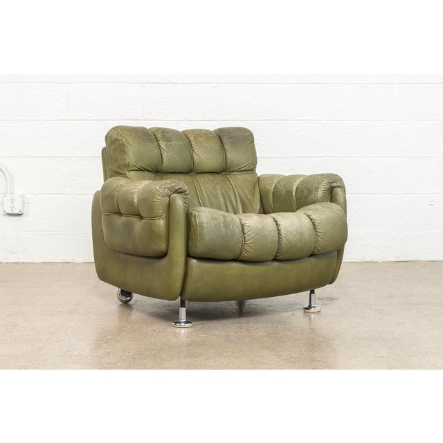 Vintage Mid Century Green Leather Lounge Chair in the Style of Percival Lafer, 1970s, Matching Sofa Available For Sale - Image 11 of 11