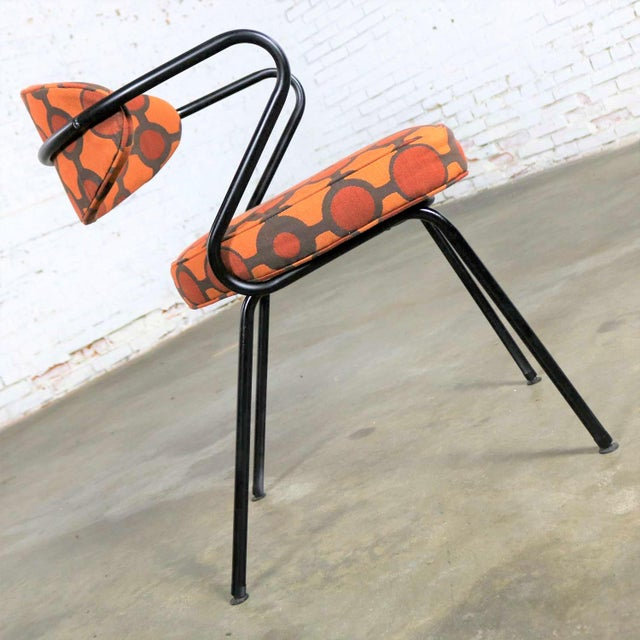Mid 20th Century Mid Century Modern Black Bent Steel Tube Armchair With New Orange Upholstery For Sale - Image 5 of 13