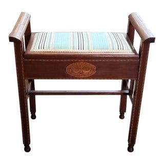Vintage Edwardian Mahogany Lift Top Piano / Vanity Seat For Sale