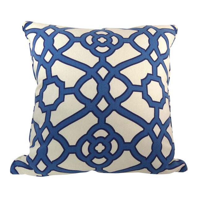 Image of Blue & White Cotton Latice Style Pillow