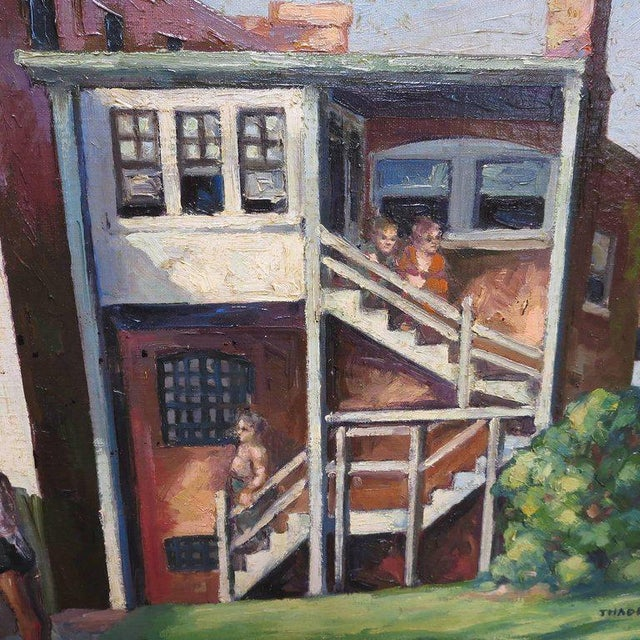 Mid-Century Modern Original American Urban Scene Oil Painting by Thaddeus J. Haduch, 1947 For Sale - Image 3 of 8