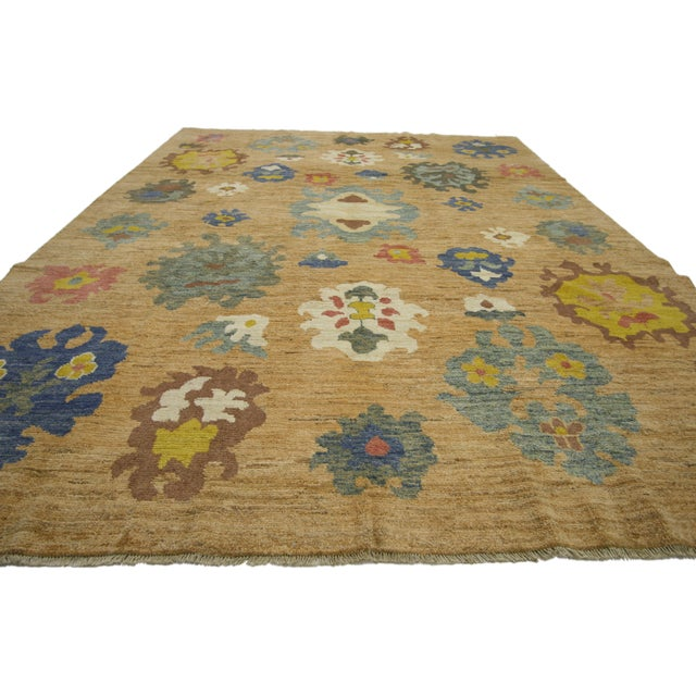 Contemporary Colorful Turkish Oushak Rug - 8′3″ × 11′ For Sale - Image 3 of 7