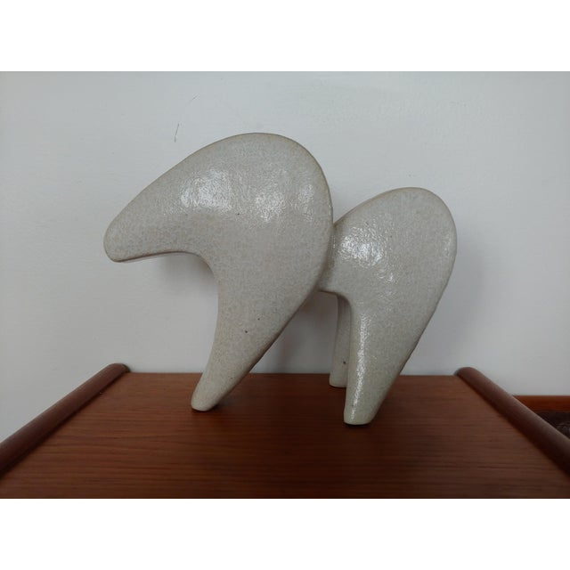 White Mid Century Modern Pottery Stylized Horse Vase For Sale - Image 8 of 8