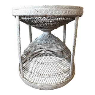 Sweet White Wicker Round Table For Sale