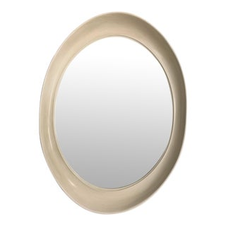 Custom Elipse Shaped Ivory Lacquered Wall Mirror For Sale