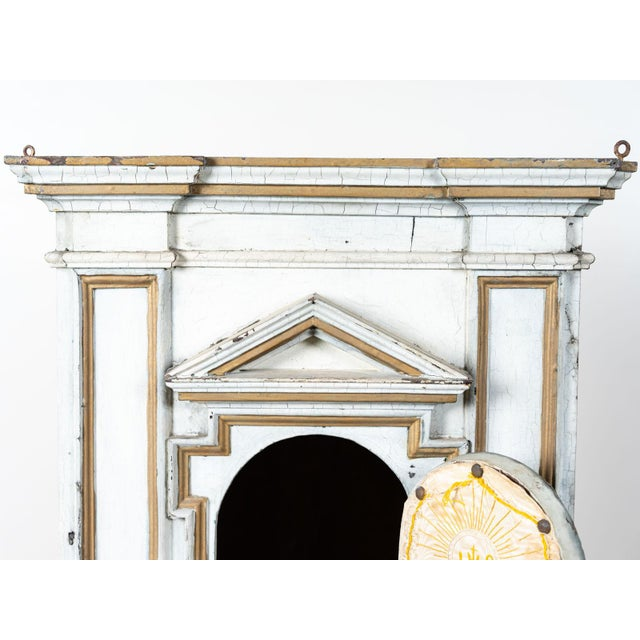 Antique French White Painted Wood Tabernacle For Sale - Image 6 of 7