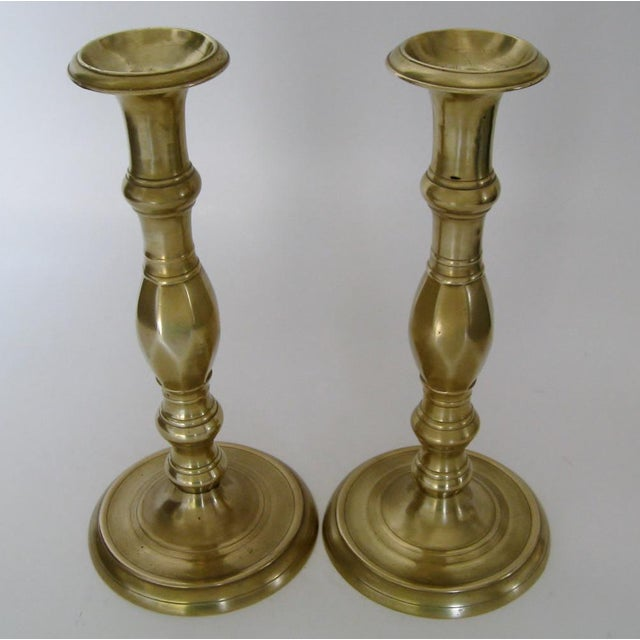 Vintage Brass Candlesticks - a Pair - Image 3 of 6