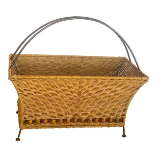Vintage Wicker Rattan and Wooden Bead Magazine Rack or Planter For Sale