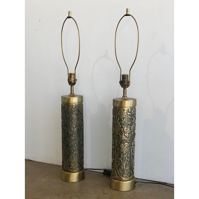 A pair of beautiful mid century etched floral brass table lamps by Westwood.