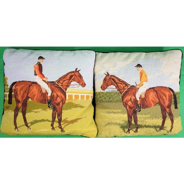 Petit-Point English Jockey Needlepoint Pillows - A Pair For Sale - Image 4 of 4