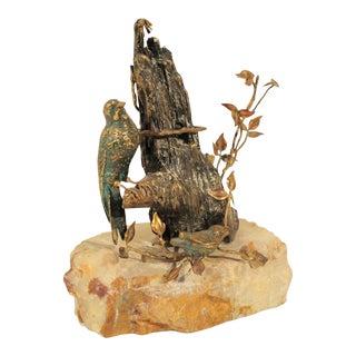 Vintage Mid-Century Modern Curtis C. Jere Bird Tree Bronze Onyx Sculpture
