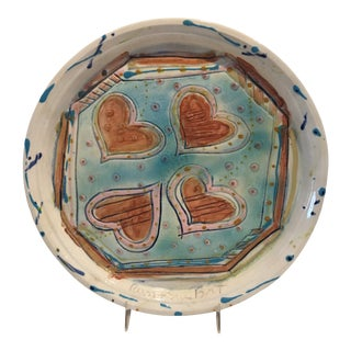 Vintage Sue Bolt Heart Pottery Plate For Sale