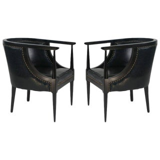 Black Leather Club Chairs With Bronze Nail Heads - A Pair