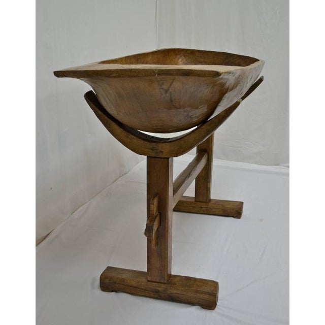 Country Huge Fruitwood Trog or Dough Bowl on Oak Stand For Sale - Image 3 of 8