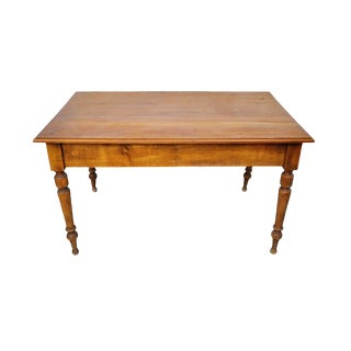 Vintage French Farmhouse Dining Table W/ Two Drawers For Sale