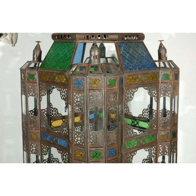 Metal Vintage Moorish Glass Lantern From Marrakech For Sale - Image 7 of 10
