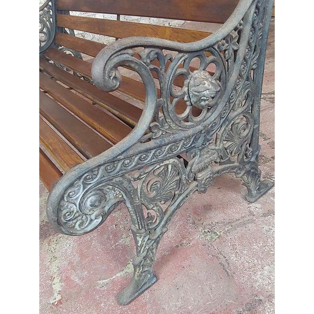 19th Century Fabulous Cast Iron & Wood Patio / Garden 3 Pieces Set For Sale - Image 10 of 11