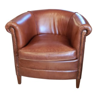 Buffalo Leather Arm Chairs With Bronze Nail Heads For Sale