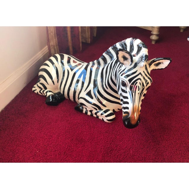 Gorgeous signed and numbered ceramic zebra figure (circa 1981, #502, ) by the noted artist Ann Townsend of The Townsend...