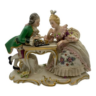 Late 19th Century Frankenthal Porcelain Figurine of Man and Lady Playing Chess For Sale