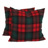 Image of Vintage Green & Red Plaid Pillows - A Pair For Sale