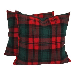 Vintage Green & Red Plaid Pillows - A Pair For Sale