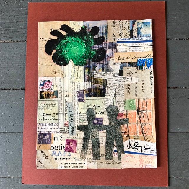 "Original Contemporary Wayne Cunningham ""Hands Across America ""Collage For Sale - Image 4 of 4"