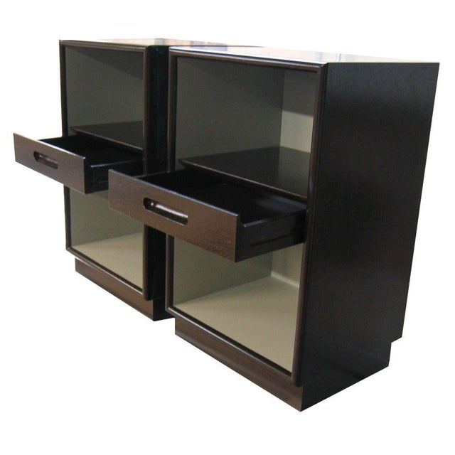 Mn originals single drawer nightstands featuring lacquered interior contrasted with premium veneer exterior on recessed...