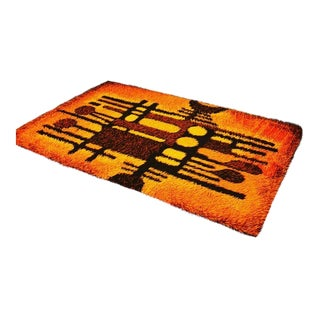 1970s Space Age Modern Abstract Rya Shag Rug-4′ × 6′1″ For Sale