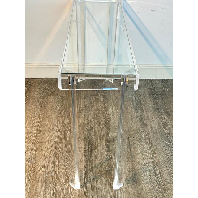 Sleek Modern Lucite and Glass Console For Sale In West Palm - Image 6 of 11