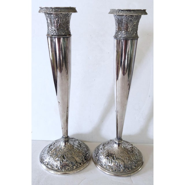 Silver Barbour Silver Candlesticks For Sale - Image 8 of 8