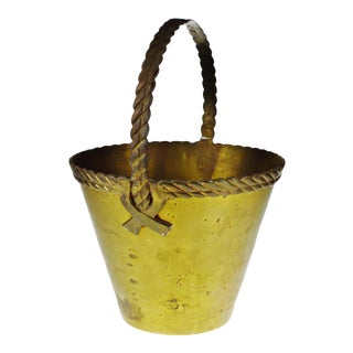 Vintage Solid Brass Bucket With Brass Basket Weave Trim and Handle