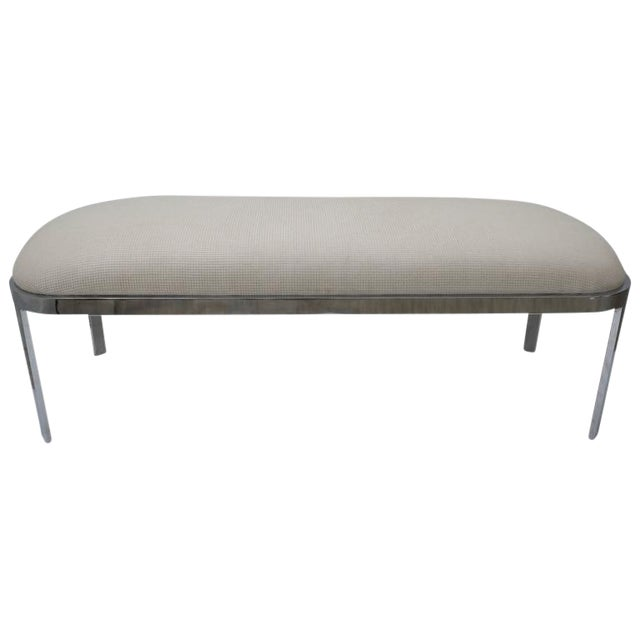 D.I.A. Polished Chrome and Cream Upholstery Race-Track Form Bench For Sale
