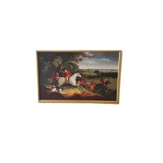 Late 20th Century Cross Stitch Hunting Scene For Sale