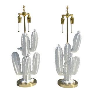 Ceramic Marbo Cactus Lamps - a Pair For Sale