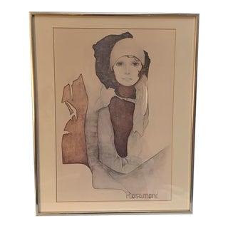 "1970s Vintage Christine Rosamond ""Simone"" Framed Lithograph Print For Sale"