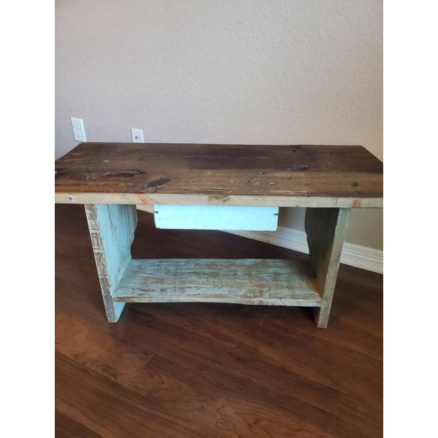 Metal Antique Rustic American Country Farmhouse Wooden Bench For Sale - Image 7 of 11