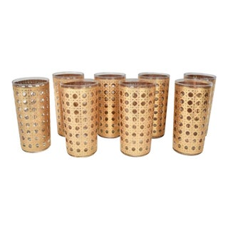 1960s Mid-Century Modern Canella Basketweave Tall Glasses in 22k Gold - Set of 8 For Sale