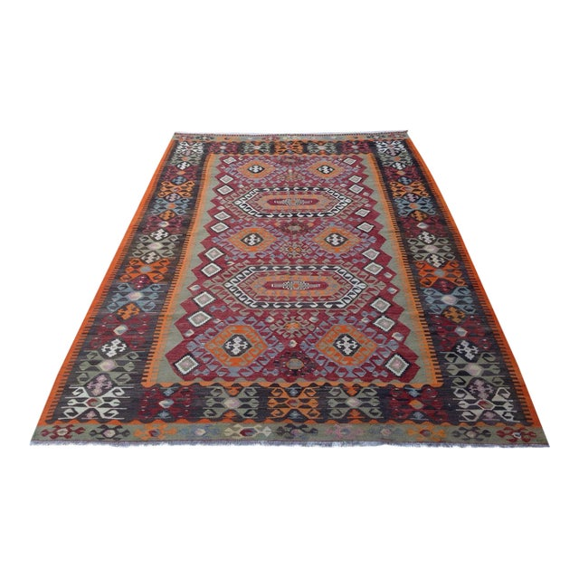 Vintage Turkish Kilim Rug - 6′10″ × 10′ - Image 1 of 7
