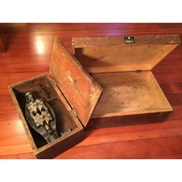 Antique Industrial Pipe Threader & Two Wood Boxes - Image 7 of 7